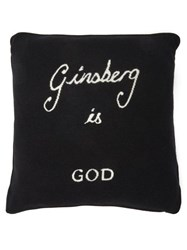 Bella Freud Ginsberg Is God Wool Blend Cushion Black