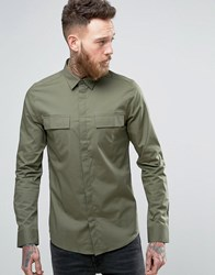 Only And Sons Skinny Smart Military Shirt Green