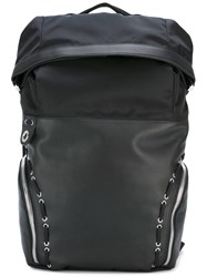 Diesel Black Gold Eyelet Lace Up Detail Backpack Black