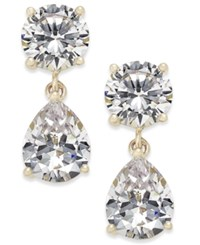 Joan Boyce Cubic Zirconia Double Drop Earrings Gold