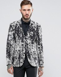 Asos Extreme Super Skinny Blazer With Black And White Design Black White Multi