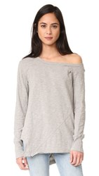 Wilt One Shoulder Slouchy Tunic Long Sleeve Grey Heather