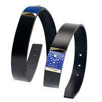 Corius Paris Pearled Blue Stingray Moka Belt Strap Yokesshiny Gold Black Box Calfskin 105