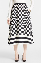 Valentino Triangle Print Wool And Silk Midi Skirt Black Ivory