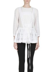 Givenchy Toggle Waist Cotton And Silk Peasant Blouse White