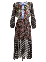 Duro Olowu Multi Print Round Neck Georgette Dress Black Multi