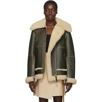 Acne Studios Green And White Shearling Long Raf Jacket