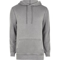 River Island Mens Grey Burnout Hoodie