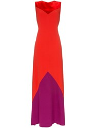 Givenchy Contrast Panel Maxi Dress Red