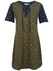 Fat Face Becky Folk Geo Dress Khaki