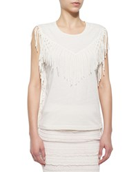Iro Gise Sleeveless Fringed Top Ecru