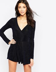 Influence Long Sleeve Wrap Front Playsuit Navy