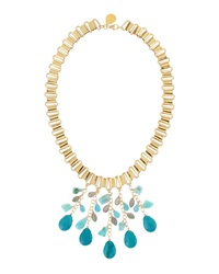 Devon Leigh Multi Drop Chain Necklace Blue Multi
