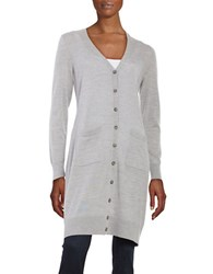 Lord And Taylor Petite Merino Wool Long Cardigan Platinum Heather
