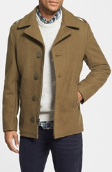 Schott Nyc Slim Fit Wool Military Jacket Olive