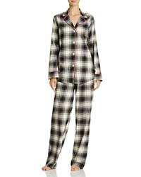Ralph Lauren Notch Collar Long Sleeve Pajama Set Plaid Ivory Black