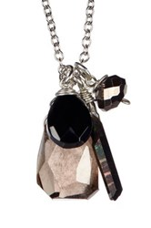 Leila Smoky Quartz Cluster Pendant Necklace Metallic