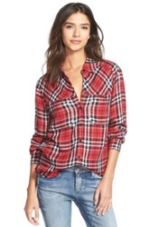 Ace Delivery Button Front Plaid Shirt Red