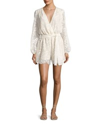 Loveshackfancy Bowie Long Sleeve Lace Playsuit White
