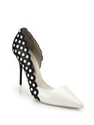 Sophia Webster Mika Polka Dot Paneled Patent Leather D'orsay Pumps White Black