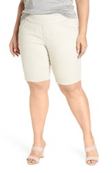 Jag Jeans Plus Size Women's Ainsley Pull On Bermuda Shorts Stone