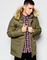 Asos Quilted Fishtail Parka With Faux Fur Hood In Khaki
