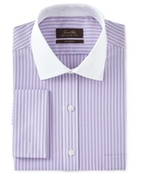 Tasso Elba Men's Classic Regular Fit Non Iron Lavender Twill Bar Stripe Contrast Collar French Cuff Dress Shirt Only At Macy's