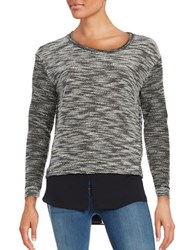 Vince Camuto Crew Neck Faux Layer Sweater Rich Black