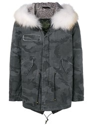 Mr And Mrs Italy Camouflage Printed Parka Grey