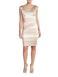 Jax Asymmetrical Seamed Cap Sleeve Dress Putty Shell