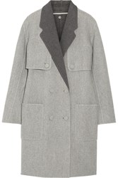 Alexander Wang Reversible Wool Blend Cocoon Coat Gray