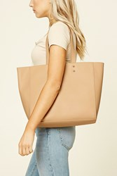 Forever 21 Faux Leather Tote Bag Nude
