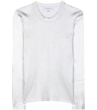 Carven Metallic Ribbed Sweater Silver