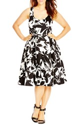 Plus Size Women's City Chic 'Summer Party' Print Fit And Flare Dress