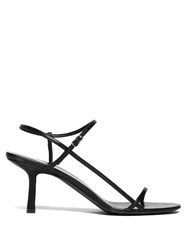 The Row Bare Mid Heel Leather Sandals Black