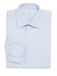 Brioni Checkered Cotton Dress Shirt Blue