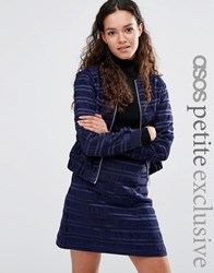 Asos Petite Bomber In Satin Stripe Co Ord Navy