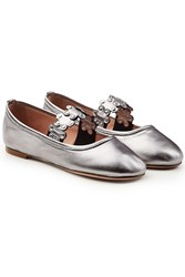 Red Valentino Metallic Leather Ballerinas With Stud Embellishment Silver