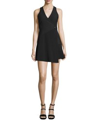 Cinq A Sept Orion Faux Wrap Mini Dress Black
