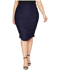 Kiyonna Helena Ruched Skirt Navy