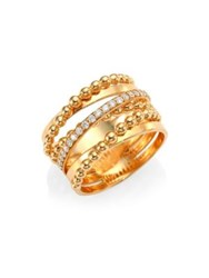 Hueb Bubble Rose Gold And Diamond Stacked Ring