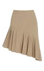Sea Pleated Asymmetrical Skirt Khaki