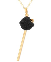 Sis By Simone I Smith 18K Gold Over Sterling Silver Necklace Black Crystal Mini Lollipop Pendant