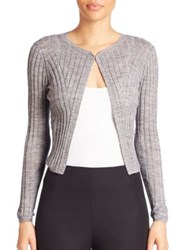 Rebecca Taylor Cropped Rib Knit Cardigan Heather Grey