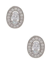 18K White Gold Plated Sterling Silver Cz Oval Stud Earrings Metallic