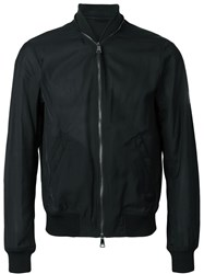 Emporio Armani Zipper Detail Bomber Jacket Black