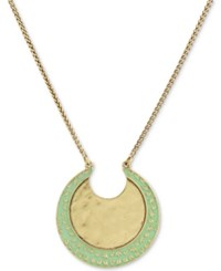 Lucky Brand Two Tone Moon 32 Pendant Necklace Gold