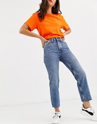 Only Cropped Straight Leg Jeans With High Waist In Blue