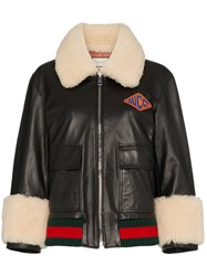 Gucci Logo Patch Shearling Trim Leather Bomber Jacket Black