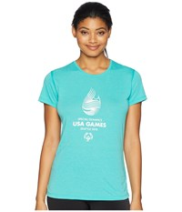Brooks Usa Games Event Short Sleeve Teal Clothing Blue